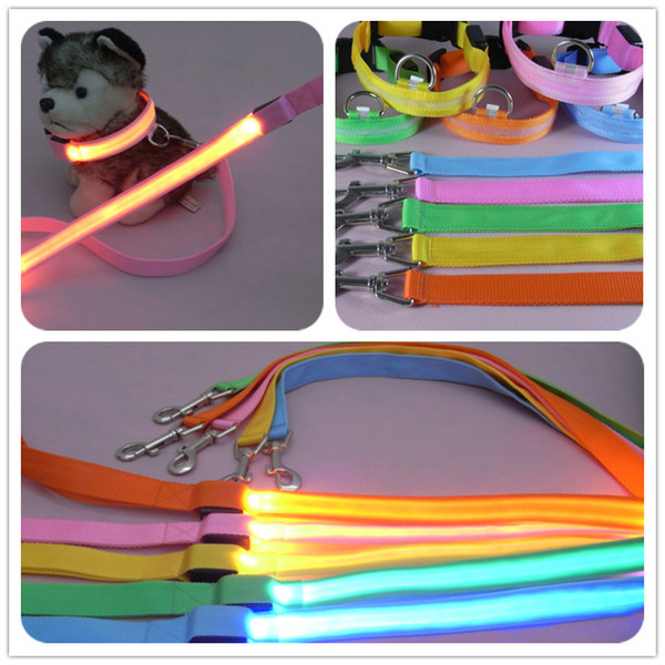 top popular Brand new Pet supplies series dog leashes 1.5 2.0 2.5x120cm mesh leashes LED flashing light leashes 2020