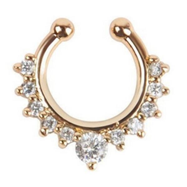 Al por mayor-Titanio Cristal Fake Nose Ring Septum Piercing Clip de suspensión en la joyería del cuerpo Nariz Aro Anillos BDY0004