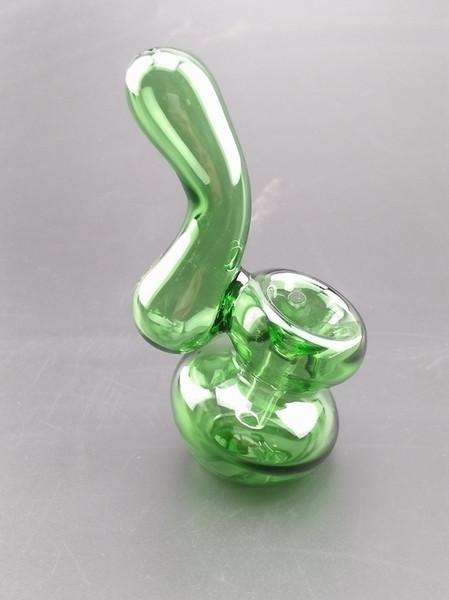 Bent Neck Glass Tubos De Fumo Com Downstem Dry Herb Tigela Para O Tabaco Cor Verde 11 cm Altura Fumar Acessórios Bongs BEP01
