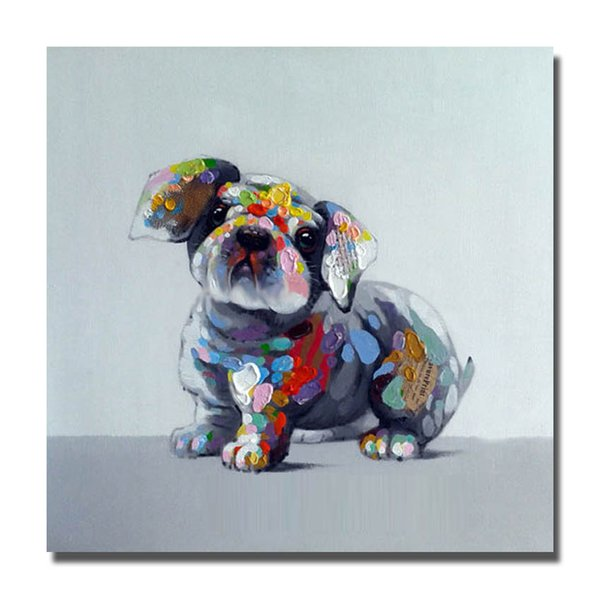 Top quality modern home wall decoration hand painted free shipping product cartoon dog picture abstract canvas art