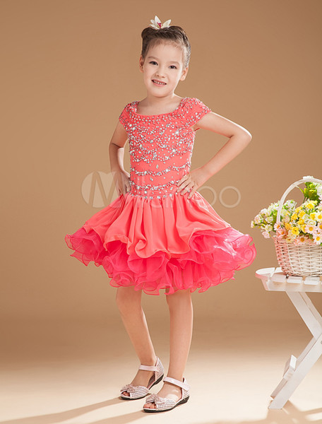 2016 New Fashion Sweet Watermelon Chiffon Organza Square Neck Beading Little Girl's Pageant Dresses Custom Made Kids Dresses