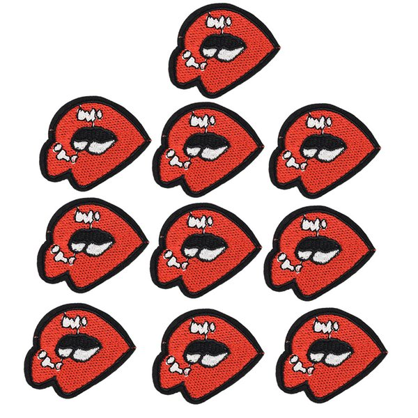 10PCS lips patches for clothing iron patch for cloth applique sewing supplies accessories stickers on clothes iron on embroidery badge patch