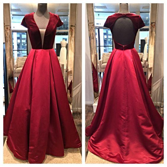 Sexy 2016 Real Photos Red Velvet Short Sleeve V-Neck Evening Dresses Cheap Open Back Cut Out Satin Long Formal Gowns Custom Made EN90923