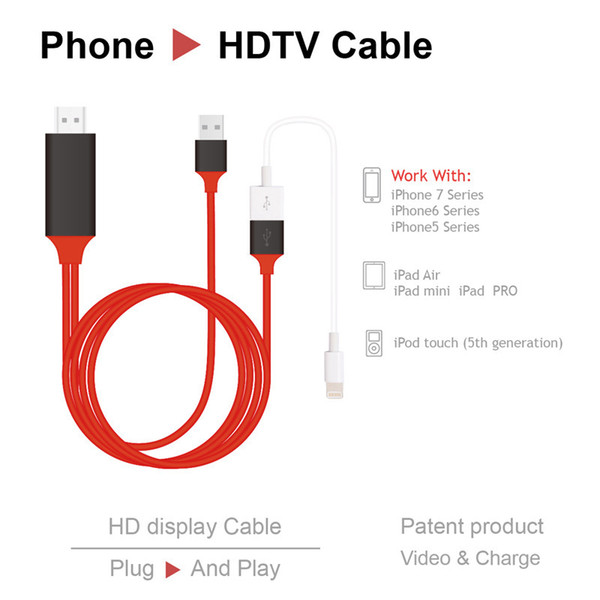 2M Universal HDMI Cable for iPhone Android and Type C 4k High Speed HDMI Cable Adapter HDTV TV for Samsung s8 s8 Plus