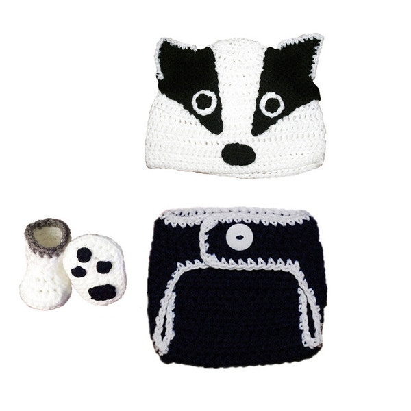 Newborn Badger Costume,Handmade Knit Crochet Baby Boy Girl Animal Badger Hat Diaper Cover Booties Set,Infant Halloween Costume Photo Prop