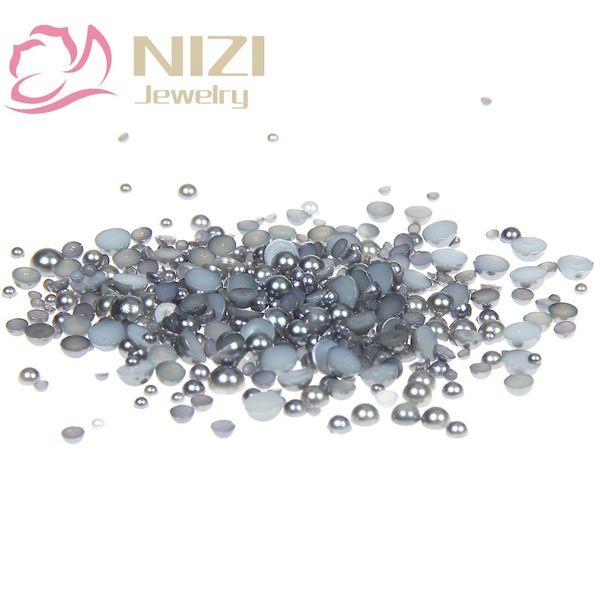 Dark Gray Resin Half Round Craft ABS Imitation Pearls 10-14mm Flatback Glue On Scrapbook Beads For 3D Nails Art DIY Decorations