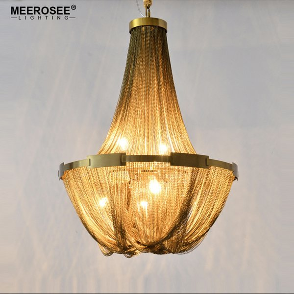 New Arrival Aluminum Chain Chandelier French Empire Bronze Color Post Chain Illumination Hanging Lamp for Living room Hotel Cafe