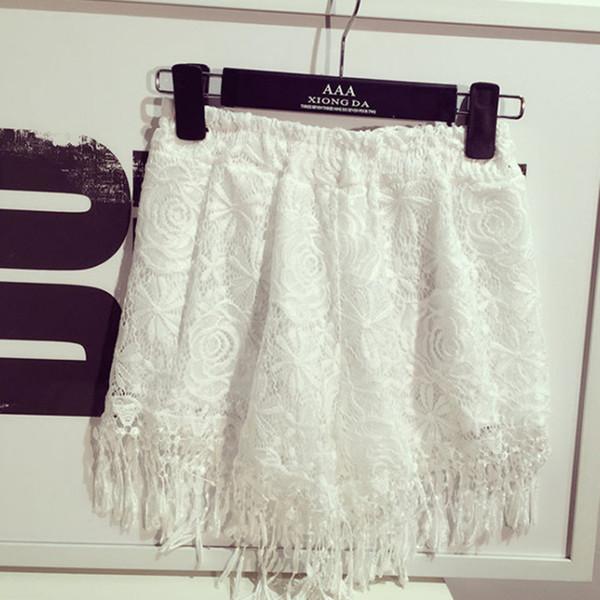 Wholesale-Fashion Korean Style Lace Women Short Tassel Quality Femme Short Hook Flower Shorts White Black