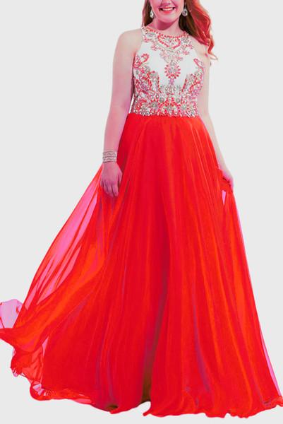 Stehkragen Neuer Designer Halter mit Kristallen Heimkehr Kleid gute Qualität Brautjungfer Abendkleid Partykleid Abschlussballkleid