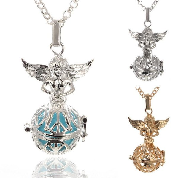 Mexican Bola Pendant Necklace Angel Callers Sound Chime Necklace harmony ball bell Peace tree angel wings Lockets silver gold white k Color