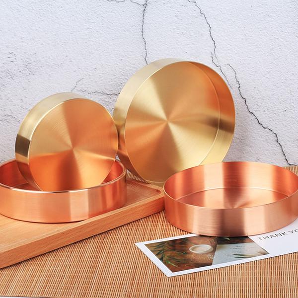 Nordic Chic Style Metallo Rame Ottone Rotondo In Ottone Ovale Custodia per Tè e Vassoio Portagioie Decorazione per la casa ZA5510