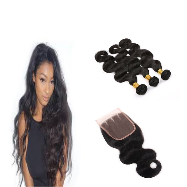 """Brazilian Body Wave with Closure Virgin Remy 3 Bundles with 4""""4"""" lace closure 7A grade Uprocessed hair bundles with free part"""
