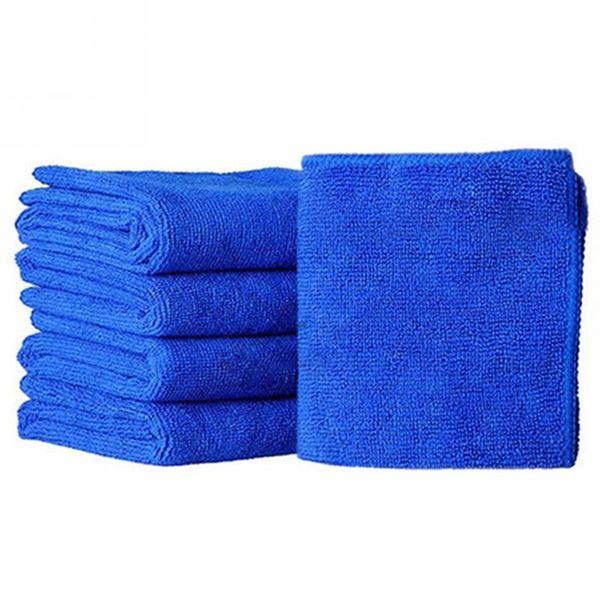 Wholesale- 5pcs Microfibre Cleaning Auto Soft Cloth Washing Cloth Towel Duster Blue Soft Absorbent Wash Cloth Car Auto Care 25*25cm
