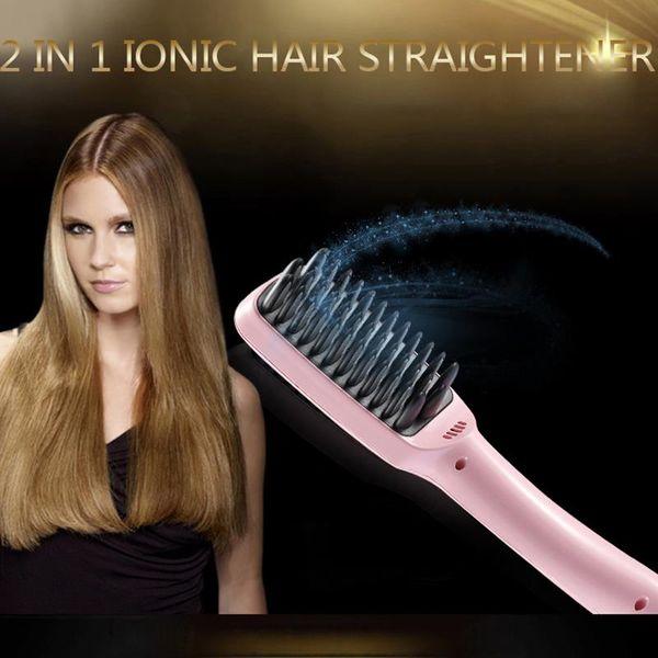 Free Shipping 2 in 1 Ionic Hair Straightener Brush Professional Comb Electric PTC Heating Straight hair Brushes Straightening Brush