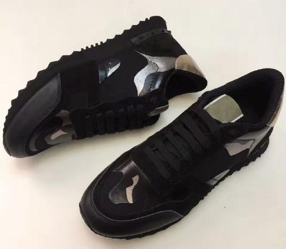 Femmes Hommes Bottes Etoiles Chaussures à crampons Maille Cuir Camouflage Chaussures à crampons Combo Stars Rock Runner Métalliques Chaussures À Lacets Rock Studs