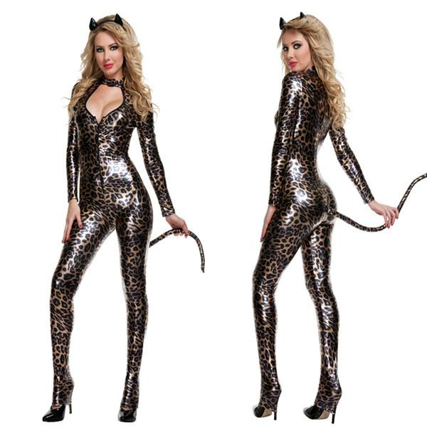 Gold Leopard Catwomen Jumpsuit Spandex Latex PVC Catsuit Costumes for Women Body Suits Fetish Leather Catsuit with Tail W297962
