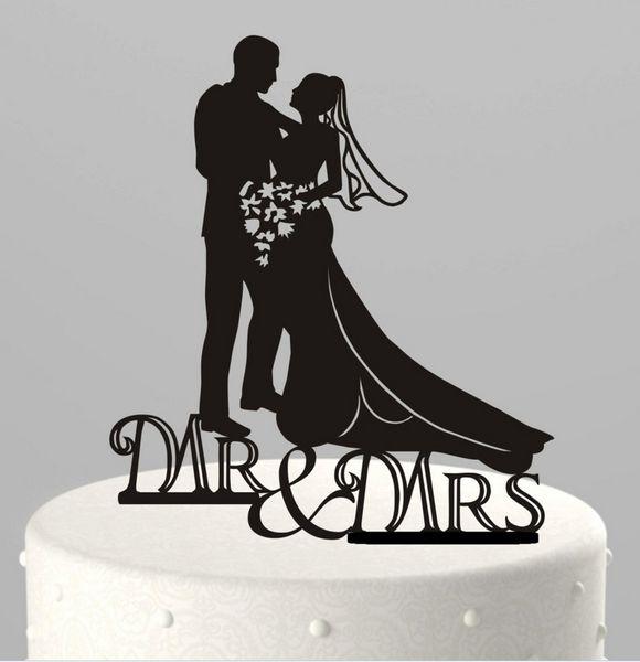 10 Tipo Design Preto Acrílico Engraçado Noivo Da Noiva Senhor Mrs Love Cake Topper Pet Dog Wedding Cake Toppers Fontes Do Partido de Casamento 2 pcs