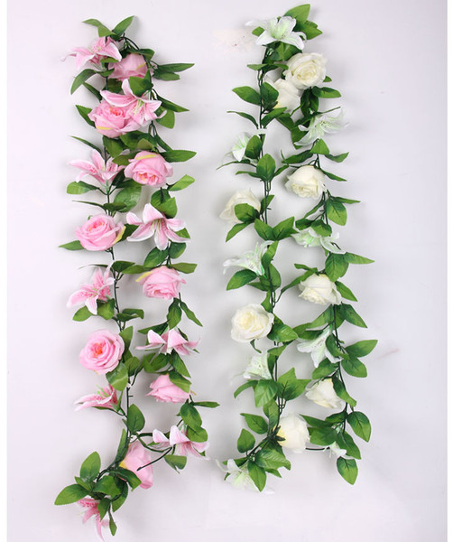 """2pcs 6.8"""" Pink/White Artificial Lily & Rose Flower Ivy Garland Silk Vine Greenery For Wedding Home Decorative"""