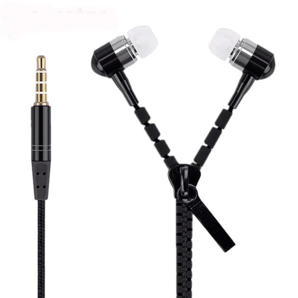Zipper Earphones Headset 3.5MM Jack Bass Earbuds In-Ear Zip Earphone Headphone with MIC for Iphone 6 Plus Samsung S6 MP3 MP4 100pc