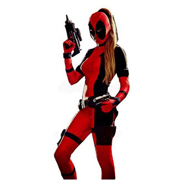 Traje de Halloween Mulheres Deadpool Trajes Padrão Spandex Lycra Ternos de super-heróis Unisex Fetiche Zentai Terno S M L XL XXL