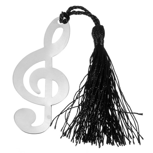 Wholesale- New Music Note With Tassels Alloy Bookmark Novelty Ducument Book Marker Label Stationery Wedding Baby Shower Party Favors Gift