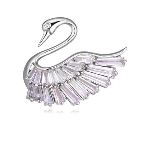 Broschen Pins Jewlery Mode Frauen Hohe Qualität Zirkon 18 Karat Gold Überzogene Swan Broschen Großhandel Geschenk Drop Shipping TB003