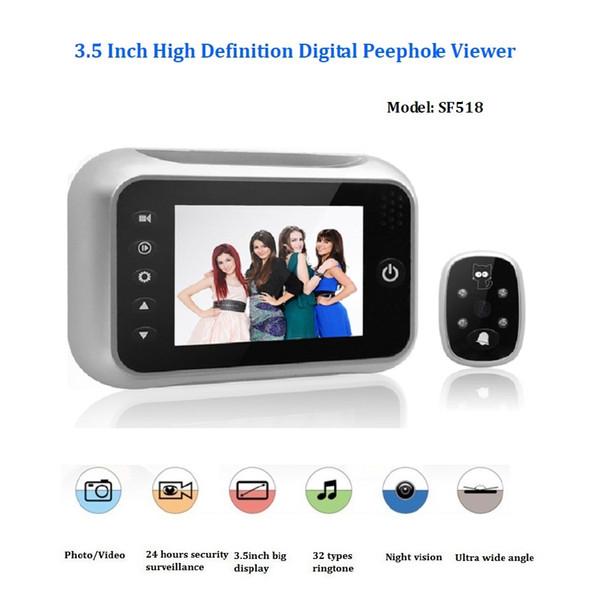 3.5inch wireless door peephole camera 32 Rings IR Night vision 3X Zoom Photos taking+Video recording visual monitor puerta