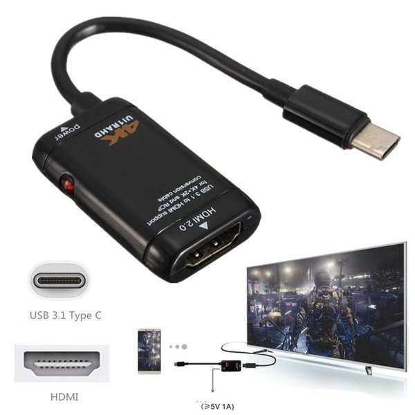 USB 3.1 Type C To MHL HDMI Adapter Cable Cord 4K / 2K / 1080P Male To Female For Type C Port LeTV Le 1 1S Max Pro X600 X800 HDTV