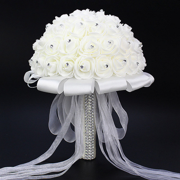 Weißer Hochzeits-Blumen-Blumenstrauß handgemachte Rosen-Rhinestone-Perlen-Brautblumenstrauß-künstliche Schaum-Blume mit Satin 1 Stück