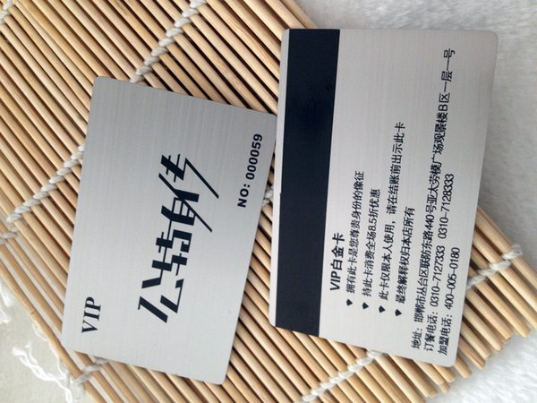 Custom design CR 80 Size Printable ISO7810 Excellent metal magnetic stripe card with chip brush chip Card