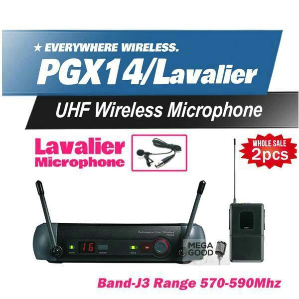 2Pcs Microfon Free PGX PGX14 WL93 UHF Professional Karaoke Wireless Microphone System with Lapel Lavalier Collar Clip Mic 570-590Mhz