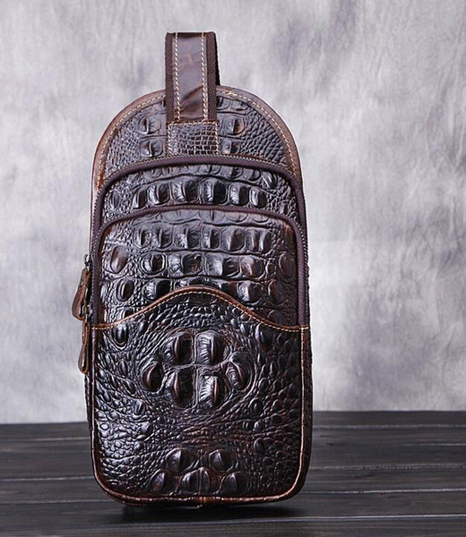 Factory wholesale brand package Handmade Crocodile oil wax leather crocodile leather men chest pack retro casual leather Crossbody Bag