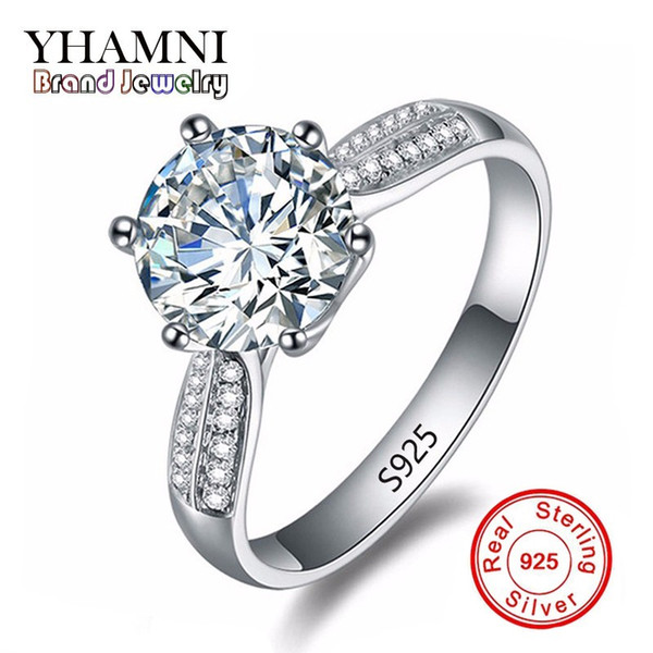 YHAMNI Pure Solid Silver Rings Set Big 2 Carat SONA CZ Diamond Engagement Ring Real Silver Wedding Rings for Women XR039