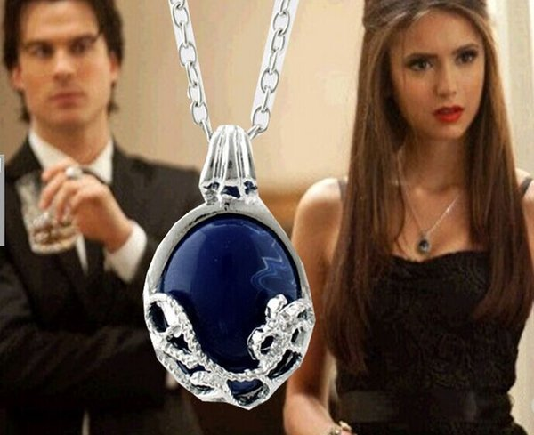 alloy The Vampire Diaries katherine Argent Anti sun Oval Imitation blue gem necklace sapphire pendant Carving necklace girl 2017 hot x120