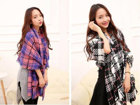 New recommend 2019 new women winter fashion designer lengthened thick cashmere shawl blanket scarf brands hit color plaid scarves wholesale