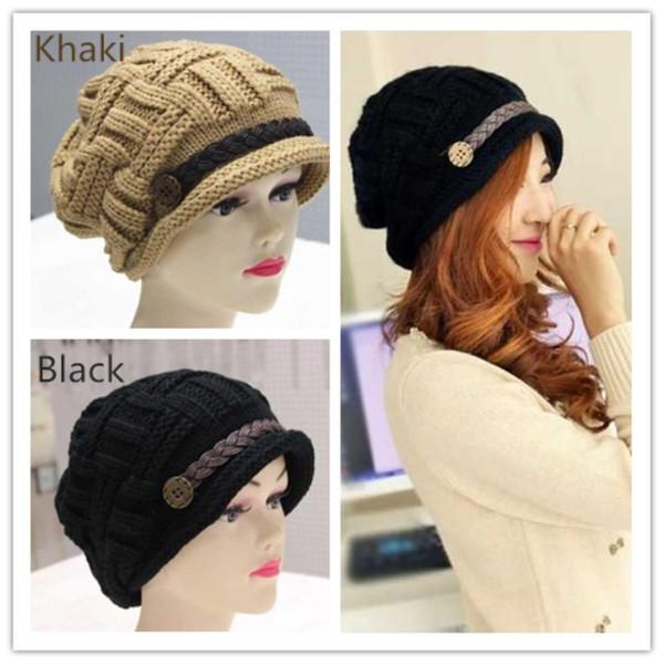a917f927b744 Quality Designer Womens Brimmed Slouchy Beanies Yarn Thick Knitted Acrylic  Winter Head Ear Warmer Rib Hat