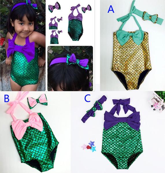 top popular Girls mermaid tail Swimwear Hairband 2pcs suit DHL Mermaid Swimsuit Costume Girls Mermaid Swimsuit Bathing Swimwear Bowknot Bikini Suit B001 2020