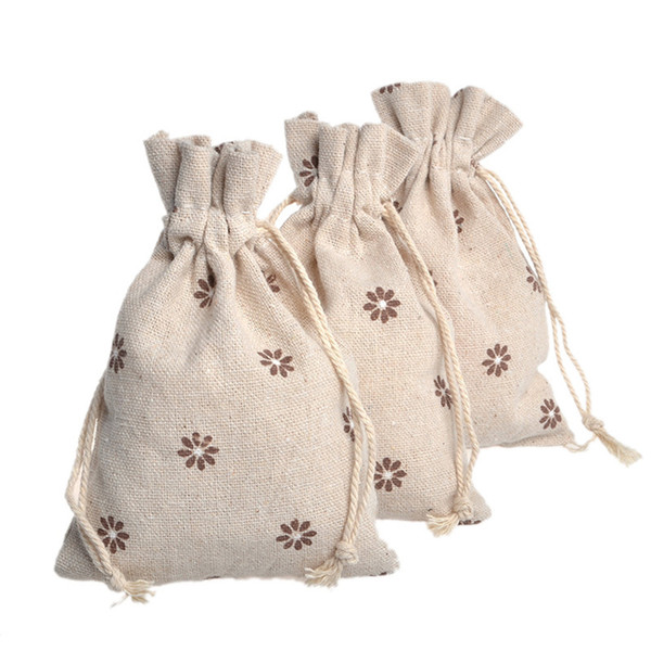 Drawstring Cotton Linen Snacks Gift Bag Pastoral Brown Flowers Jewelry Packing Bag 25PC Color Send Randomly