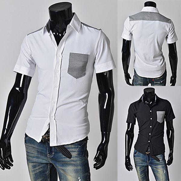 Men's Casual shirt Plaid Patchwork men's Short-sleeved shirt Slim Shirt Plus Size A05