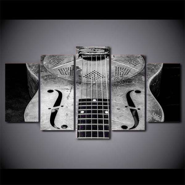 5 Pcs / Set Encadrée Imprimé Classique Guitare Guitare Instrument Affiche Moderne Home Wall Decororation Impression Peinture Toile Mur Photo
