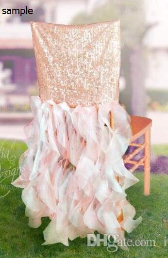 2015 Ruffles Sequins Sparkly Romantic Beautiful Chair Sash Chair Covers Wedding Decorations Wedding Supplies Sample G01