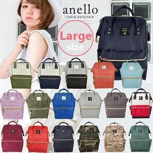 top popular Japan Anello Original Backpack Rucksack Unisex Canvas Quality School Bag Campus Big Size 20 colors to choose 2019