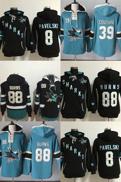 Hot Sale Mens San Jose Sharks 8 Joe Pavelski 39 Logan Couture 88 Brent Burns Best Quality Cheap Embroidery Logos Ice Hockey Hoodies