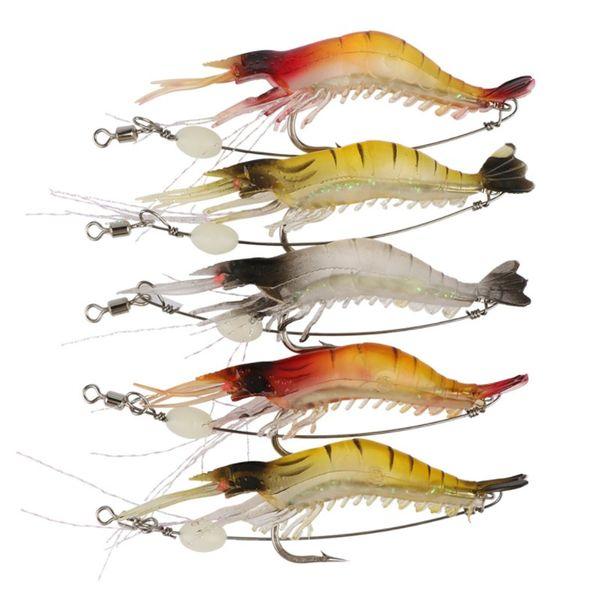 4PCS Lifelike Fishing Lure 6.4g Sea Bionic Shrimp Soft Bait Fishing Tackle 9.5cm Noctilucent Luminous Prawn Fishing Baits with Hook
