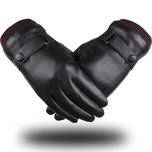 Plus Velvet Gloves PU Mobile Phone Touch Screen Glove Autumn And Winter Keep Warm Mittens High Quality 14yf B