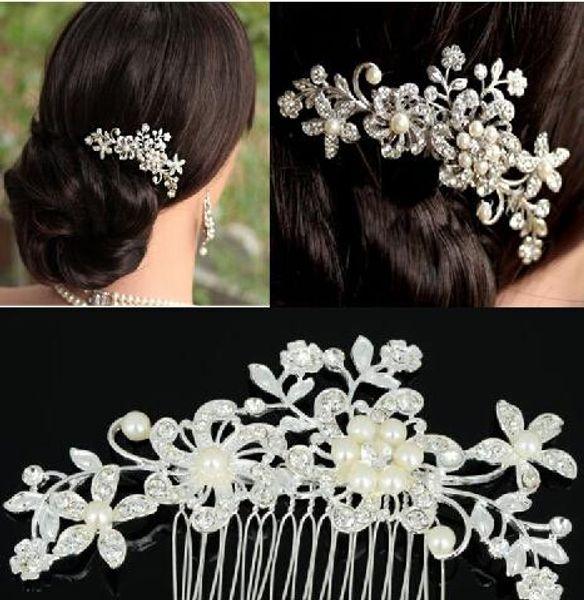 best selling Fashion Bridal Wedding Tiaras Stunning Rhinestone Fine Comb Bridal Jewelry Accessories Crystal Pearl Hair Brush Free Shipping