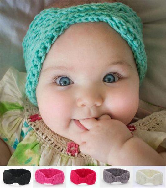15inches Newborn Baby Infant Wool Crochet Warm Headbands Knitting Hairband Girls Winter Ear Warmer Children Headwrap Hair Accessories KHA20