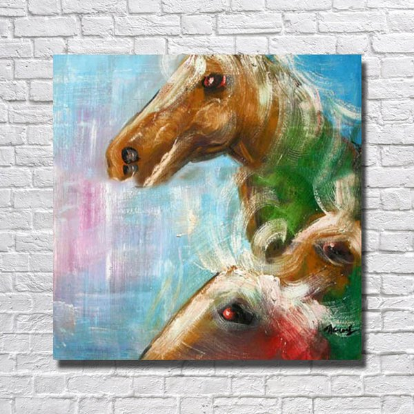 Free shipping hand painted chinese horse oil painting top quality cheap price dropshipping bedroom canvas art