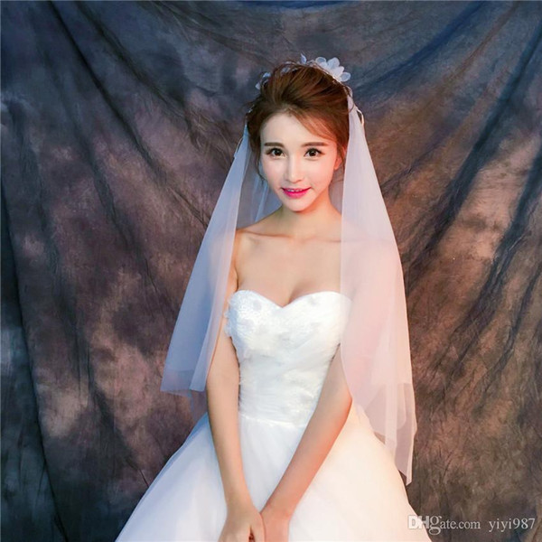Wholesale Veils In China Real sample pictures Purple White Veils for Wedding Ivory Tulle Fast Free shipping out