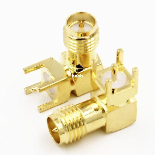 50pcs\Lot Gold RP-SMA-KWE Adapter PCB Mount RP-SMA Male Pin Jack Right Angle Coaxial RF SMA Connector